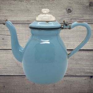VTG enamelware Coffee tea Pot farmhouse Decor blue